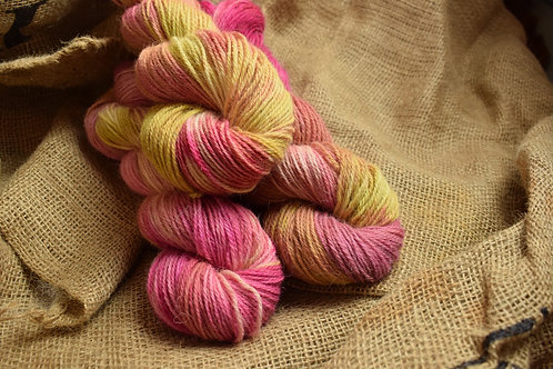 Hand dyed Lambs Wool Dk 100g - 'Rhubarb'