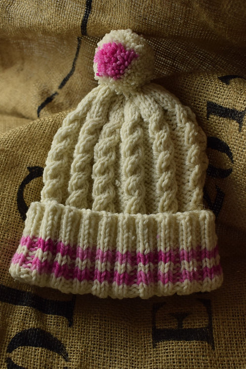 Childrens Merino Hat - Natural with pink