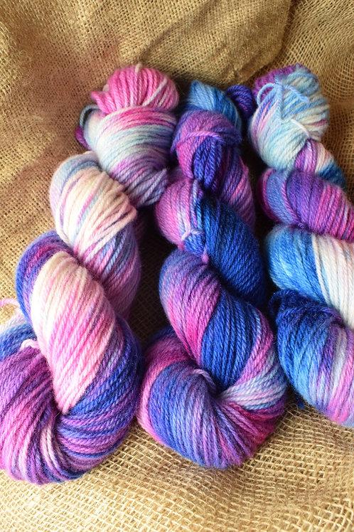 'Zingy Berry' Hand dyed Dartmoor Merino Dk 100g