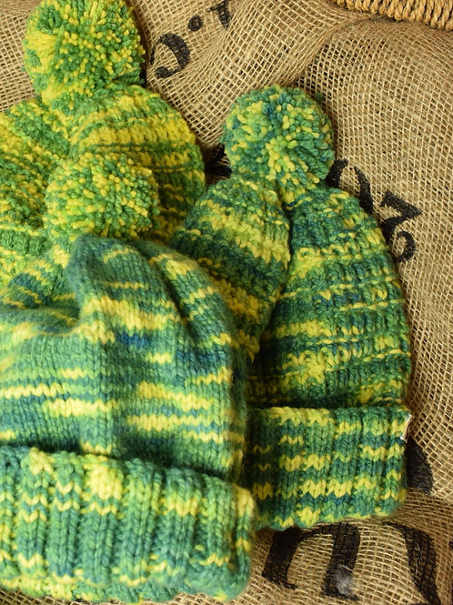 Merino hat - Green and Yellow 'Gorse'