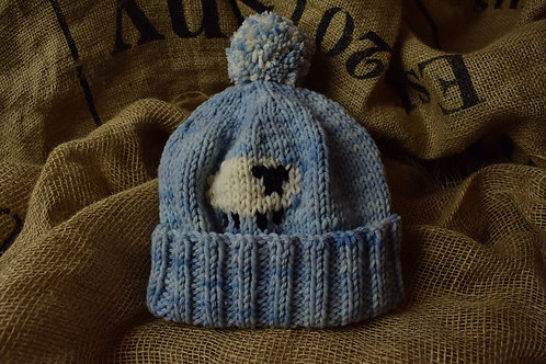 Adult Merino hat - Light Blue with Sheep