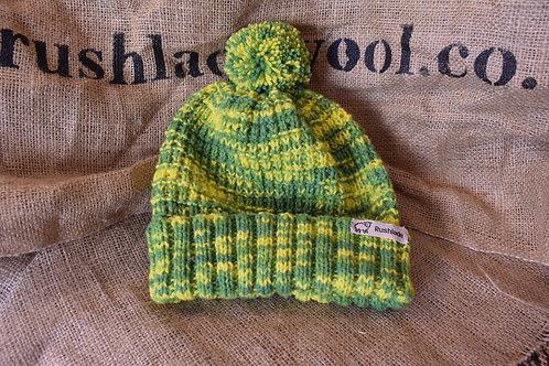 Merino hat - Green and Yellow 'Gorse'