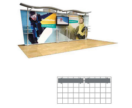 20 ft. Timberline Hybrid Modular Display - Tapered Fabric Sides | TL1002F-T20