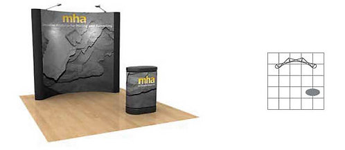 8 ft. Pop-Up Center Graphic Display Package - w/ Fabric Ends | POP33MURAL-FE