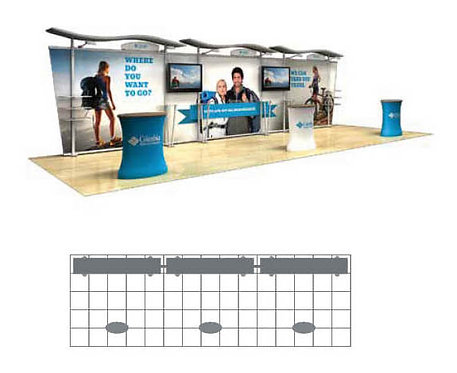 30 ft. Timberline Hybrid Modular Display - Tapered Fabric Sides | TLKIT5