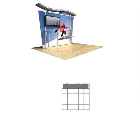 10 ft. Timberline Hybrid Modular Display w/Monitor Mount-Tapered Fabric Sides |