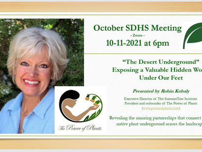 "NEXT MEETING: Robin Kobaly Presents ""The Desert Underground"" - Oct. 11, '21 @ 6pm On Zoom"