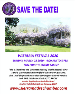 Flyer from the Sierra Madre Chamber of Commerce.