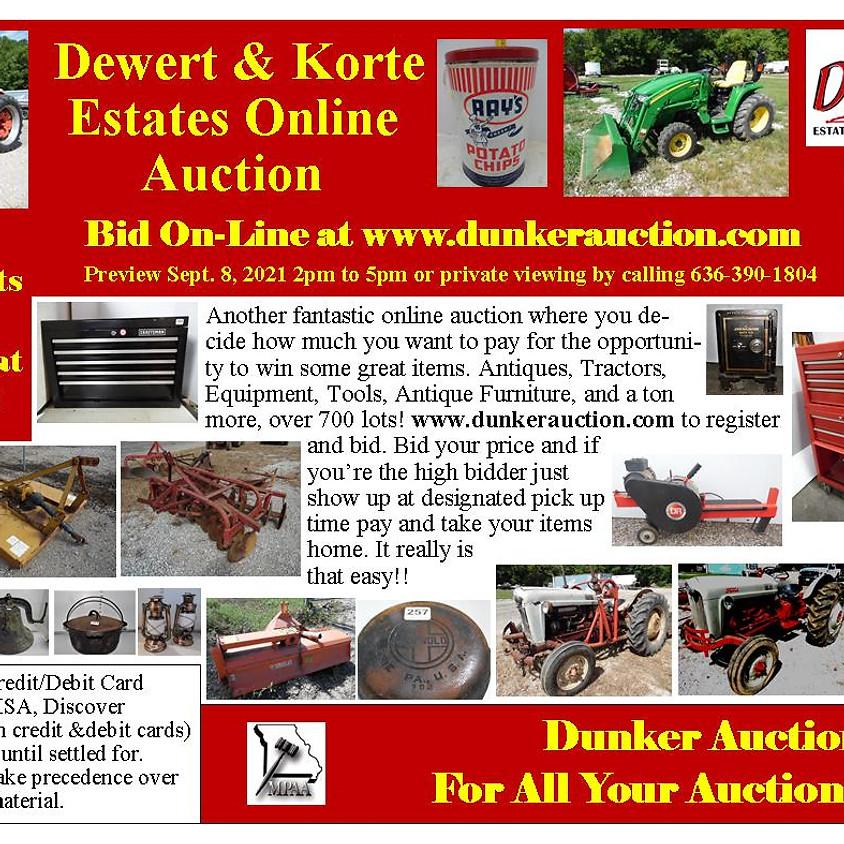 Dewert & Korte Estates Online Auction Coming Soon
