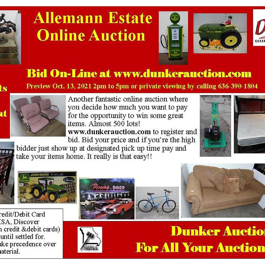 Allemann Estate Online Auction Coming Soon