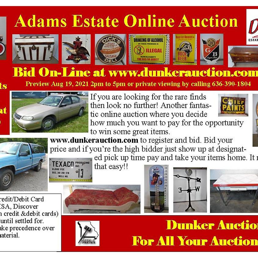 Adams Estate Online Auction