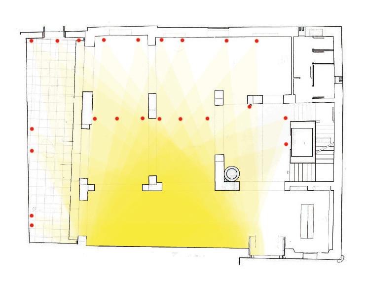 Plano proyecto (luces). Mirar desde el espacio