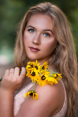 pretty girl with yellow flowers
