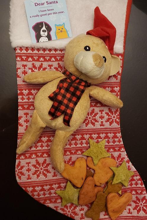 DOG CHRISTMAS STOCKING - Full with Treats