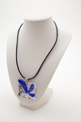 Black and Blue Glass Flower Necklace