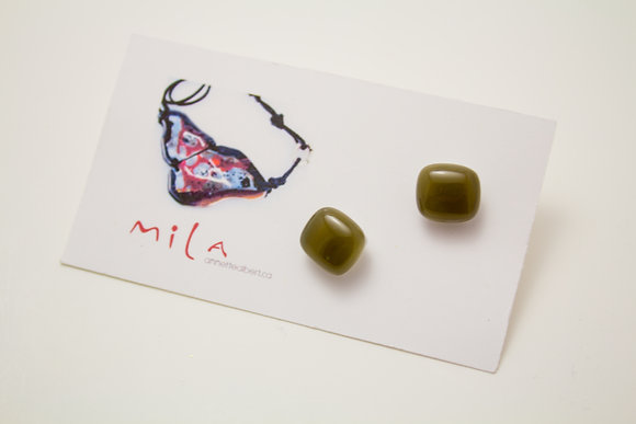 Small Square Earrings in Olive