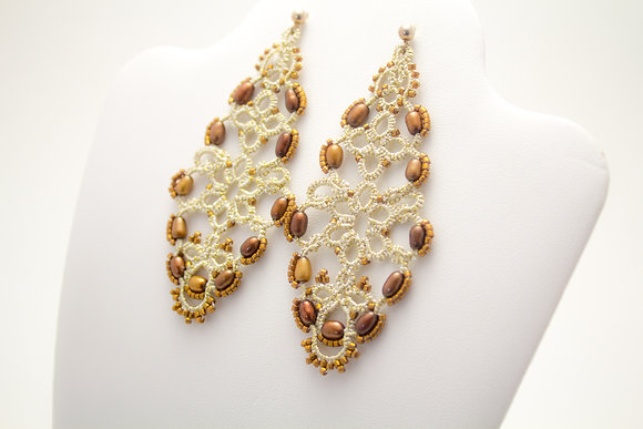 4003 Pearl/Coffee Earrings
