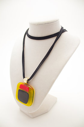 Yellow Square Glass Necklace