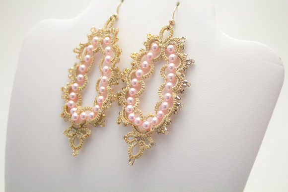 Simona Earrings in Rose/Cream