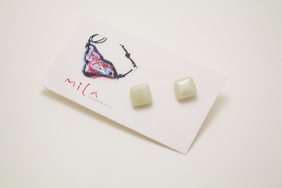 Small Square Earrings in White
