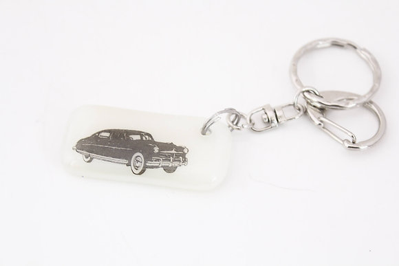 White Car Keychain
