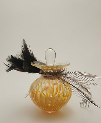 Feathered Design Perfume Bottle in Yellow