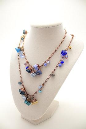 Blue/Grey Rosebuds Necklace