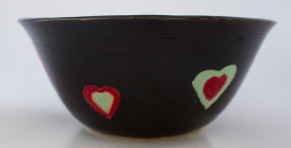 Black Bowl with Hearts