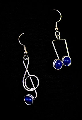 Blue Music Note Earrings