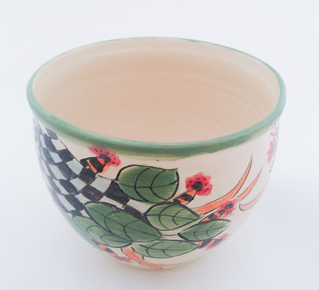 Flower and Checkered Pot