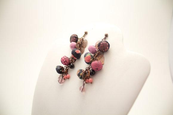 Pink/Black/Lace Rosebuds Earrings