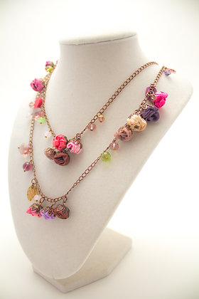 Pink/Purple Rosebuds Necklace