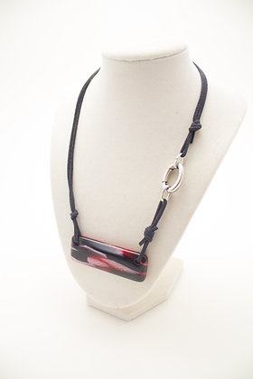Red, White and Black Rectangle Necklace