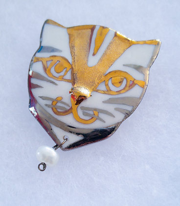 Silver & Gold Cat Pin with Pearl