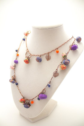 Purple/Orange Rosebuds Necklace