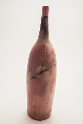 Smoke Fired Tall Tapered Vase