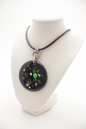 Black and Pink Roses Necklace