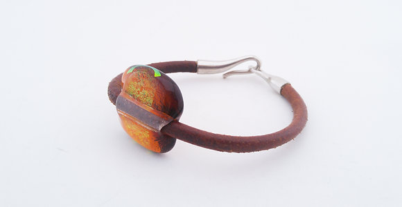 Tan Holographic Amber Leather Bracelet