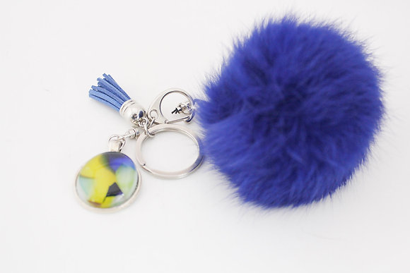 Yellow & Blue Fur Keychain