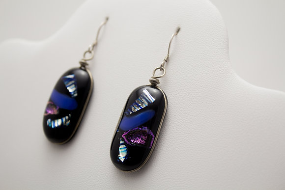 Black and Holographic Foil Earrings