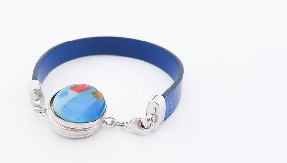 Button Pendant Leather Bracelet