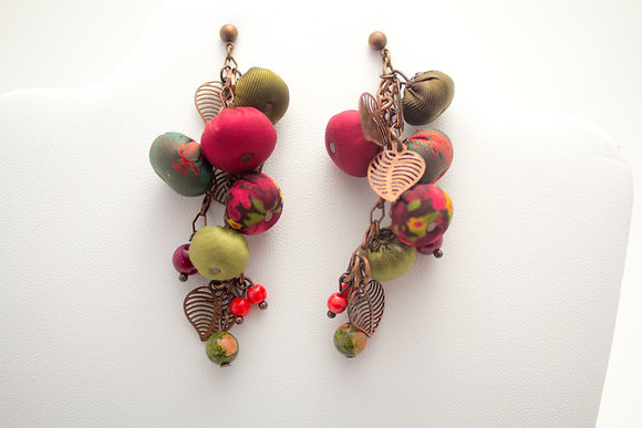 Red/Green Rosebuds Earrings