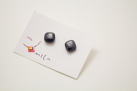 Small Square Earrings in Slate