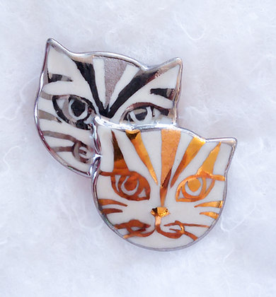 Gold & Silver Cat Pin