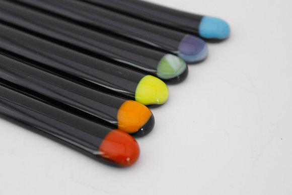 Rainbow Glass Stir Sticks in Black