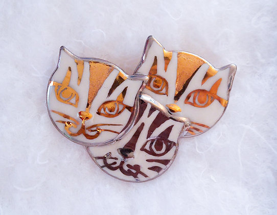 Gold & Silver Triple Cat Pin