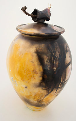 Large Vase with Wooden Handle