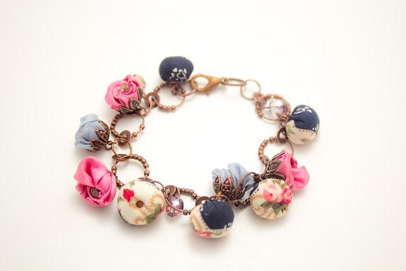 Blue/Pink Rosebuds Bracelet