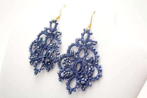 Infanta Earrings in Navy