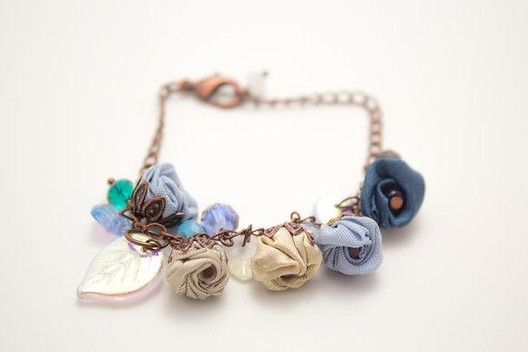 Blue/Grey Rosebuds Bracelet